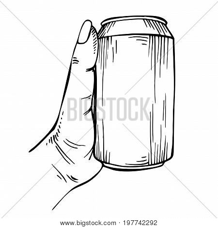 Blank Can in hand. Sketch beverage can in ink hand drawn style. isolated on white. Beercan.