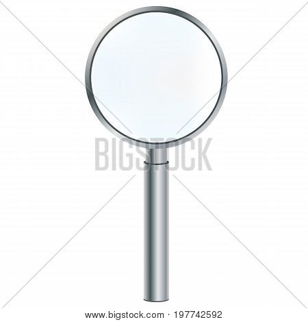 Magnifier - a device to increase. Metal magnifier isolated on white background. Vector illustration.