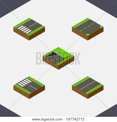 Isometric Way Set Of Footpassenger, Down, Subway And Other Vector Objects