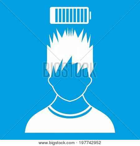 Man with low battery over head icon white isolated on blue background vector illustration