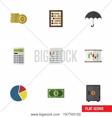 Flat Icon Incoming Set Of Counter, Strongbox, Greenback And Other Vector Objects