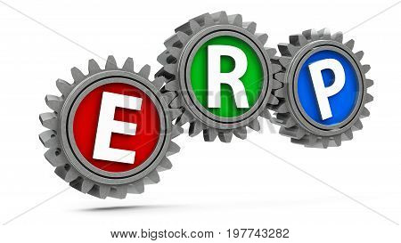 ERP gears - concept of enterprise resource planning three-dimensional rendering 3D illustration