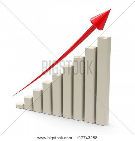Business graph with red arrow up represents the growth three-dimensional rendering 3D illustration