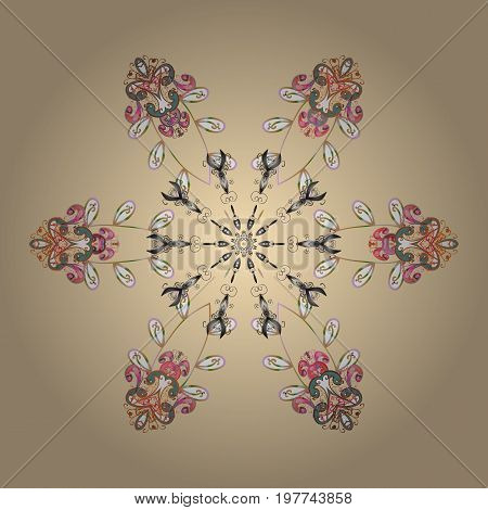 Isolated cute snowflakes on colorful background. Vector illustration. Abstract mandala or whimsical snowflake line art design.