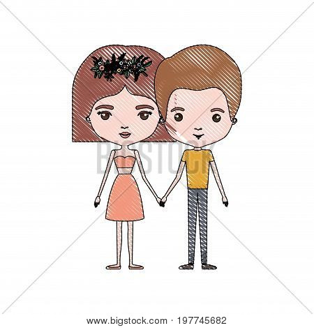 crayon colored silhouette of slim couple standing caricature and him with short light brown hair and her with dress and short hairstyle and floral crown accesory vector illustration