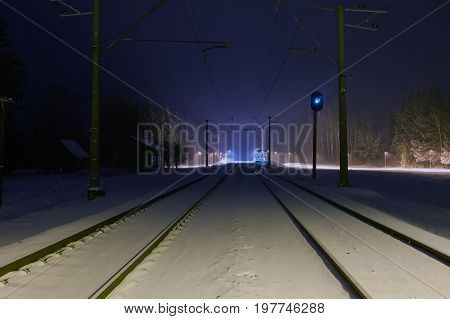 railway substation near from Tallinn at winter night