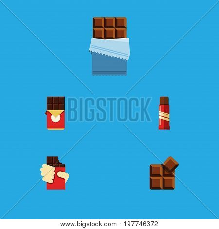 Flat Icon Sweet Set Of Shaped Box, Cocoa, Bitter And Other Vector Objects