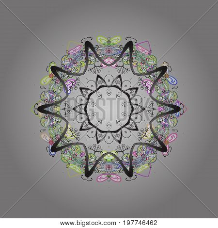 Snowflakes pattern. Snowflake ornamental pattern. Flat design of snowflakes isolated on colorful background. Snowflakes background. Vector illustration.