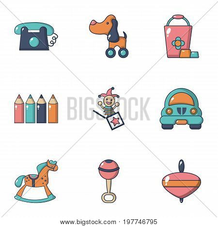 Children toys icons set. Flat set of 9 children toys vector icons for web isolated on white background