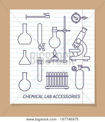 Chemical lab accessories line icons on notebook page, vector illustration