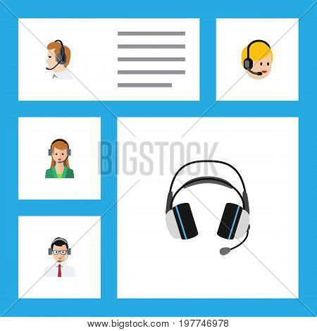 Flat Icon Call Set Of Telemarketing, Earphone, Secretary And Other Vector Objects