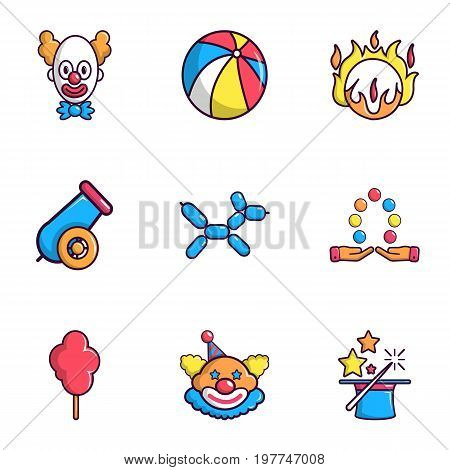 Clown show icons set. Flat set of 9 clown show vector icons for web isolated on white background