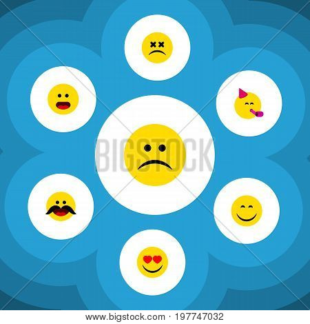 Flat Icon Expression Set Of Smile, Cross-Eyed Face, Sad And Other Vector Objects