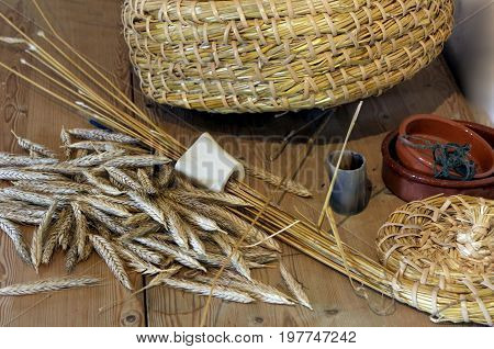 Traditional Basket Weaving Craft Materials And Tools Including Bone Gauges