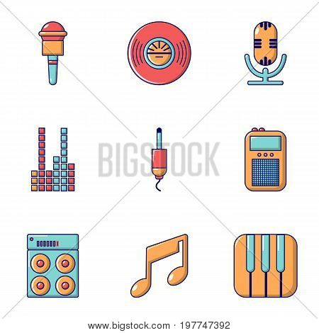 Music player icons set. Flat set of 9 music player vector icons for web isolated on white background