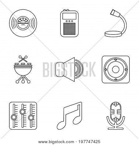 Music player icons set. Outline set of 9 music player vector icons for web isolated on white background