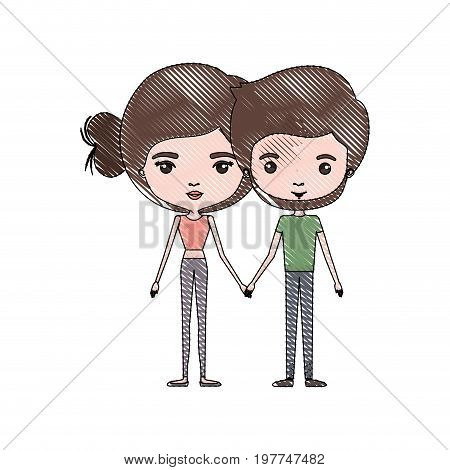 crayon colored silhouette of slim couple standing caricature and both with brown hair and pants and her with bun hair and him with beard vector illustration