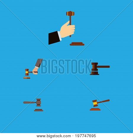 Flat Icon Hammer Set Of Legal, Hammer, Government Building And Other Vector Objects