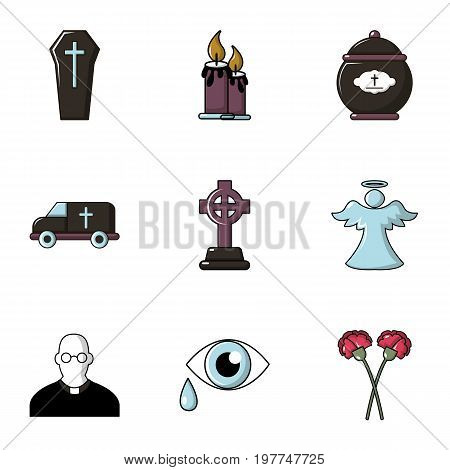 Funeral symbols icons set. Flat set of 9 funeral symbols vector icons for web isolated on white background
