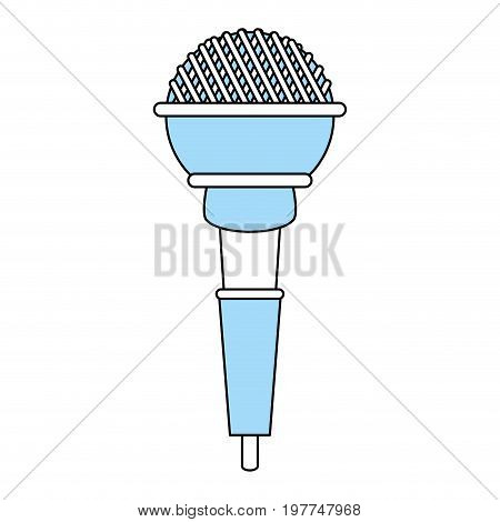 Flat line monocromatic microphone over white background vector illustraiton
