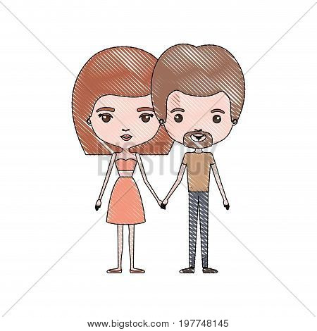 crayon colored silhouette of slim couple standing caricature and him with short light brown hair and van dyke beard and her with skirt and mushroom hairstyle vector illustration