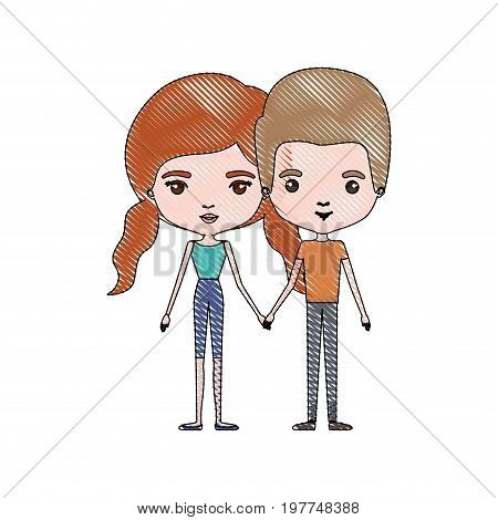 crayon colored silhouette of slim couple standing caricature and both with pants and her with red hair with pigtails vector illustration