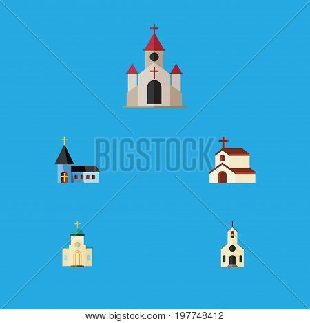 Flat Icon Church Set Of Building, Christian, Religious And Other Vector Objects