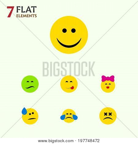 Flat Icon Expression Set Of Cross-Eyed Face, Tears, Cold Sweat And Other Vector Objects