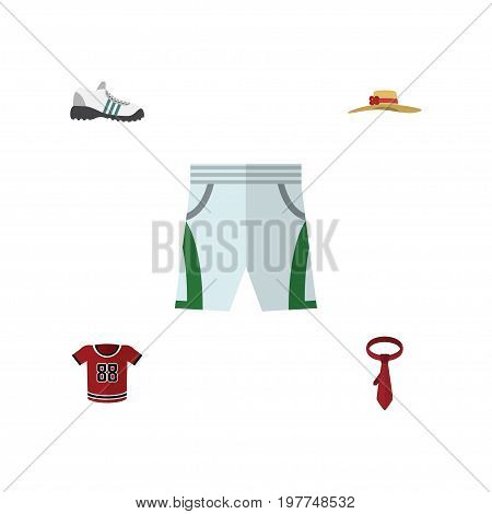 Flat Icon Clothes Set Of Cravat, Trunks Cloth, T-Shirt And Other Vector Objects