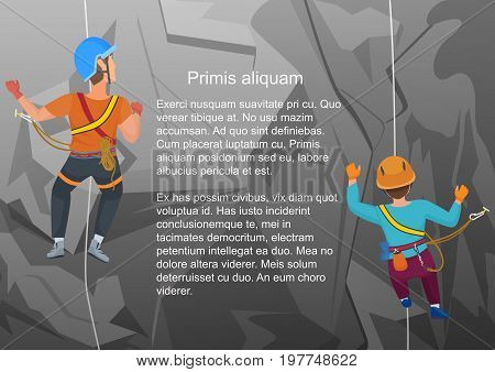 Vector illustration of two alpinists climbing on rock in back view