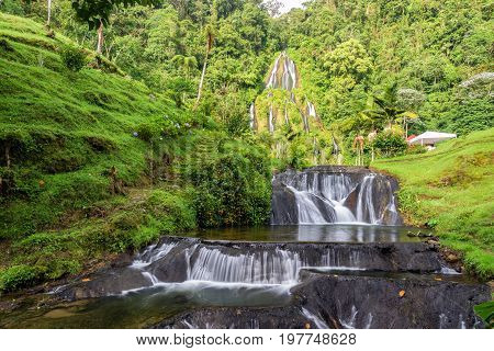 Waterfall at the hot springs in Santa Rosa de Cabal Colombia