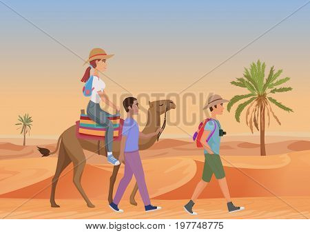 Vector illustration of man walking with guide and woman riding camel in desert