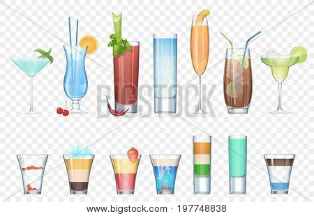 Vector Set of realistic alcoholic cocktails isolated on the alpha transperant background. Club party summer cocktails in mixed glasses. Short and long cocktails collection