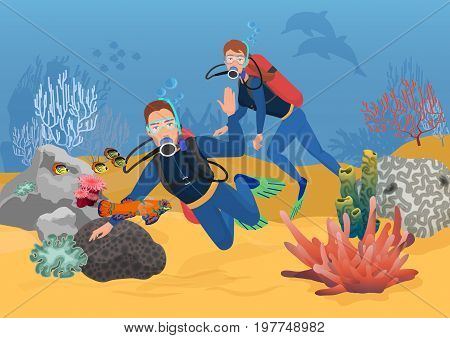 Vector illustration of scuba divers greeting while swimming in ocean reef