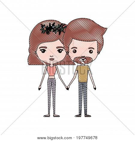 crayon colored silhouette of slim couple standing caricature and both with pants and light brown hair and her with short hair and floral crown and him with van dyke beard vector illustration