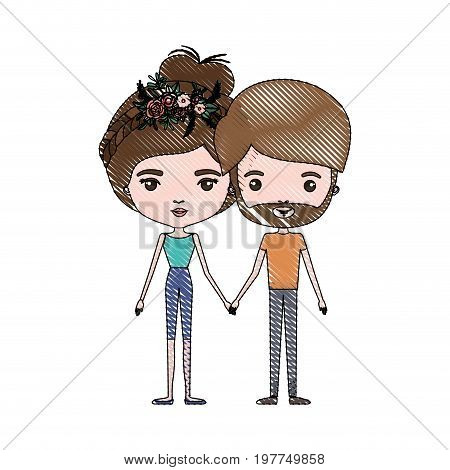 crayon colored silhouette of slim couple standing caricature and both with brown hair and pants and her with collected hair and floral crown and him with beard vector illustration