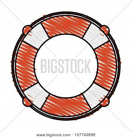 Colorful lifesaver doodle over white background vector illustration