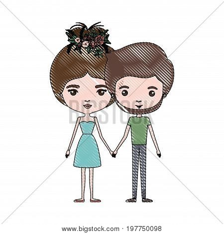 crayon colored silhouette of slim couple standing caricature and both with brown hair and her in dress with collected hair and floral crown and him bearded vector illustration