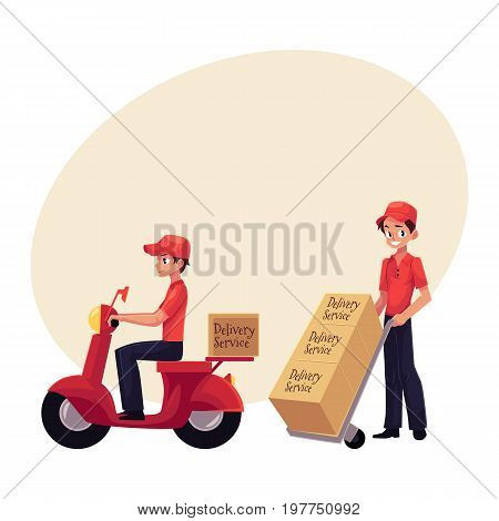 Courier, delivery service worker riding scooter, pushing dolly, hand cart with boxes, cartoon vector illustration with space for text. Full length portrait of young delivery service man