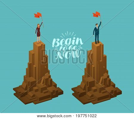 Business concept. Successful businessman, businesswoman with flag on top of mountain