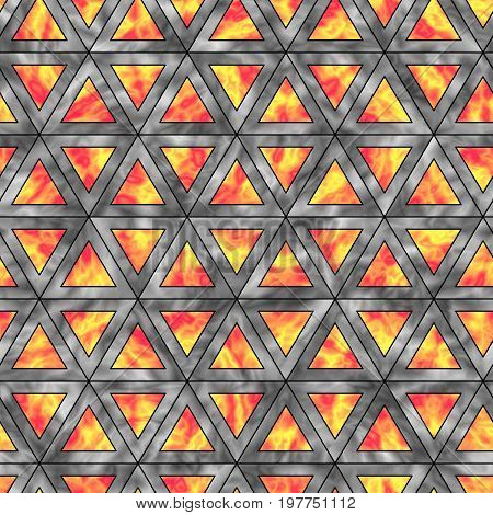 Creative Seamless Pattern of Holographic Triangles of Horisontal Direction. Triangular Continuous Background of Fire Geometric Figures.