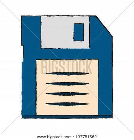 Colorful diskette doodle over white background vector illustration