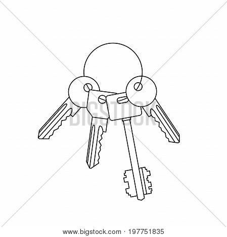 Keys with ring line drawing. Vector thin illustration with bunch of keys.