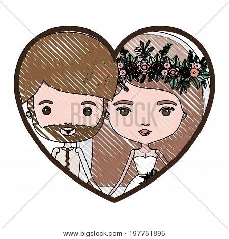 heart shape portrait with color crayon silhouette caricature newly married couple bearded groom with formal wear and bride with straight medium hairstyle vector illustration