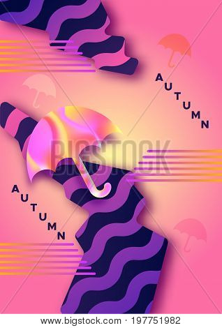 Autumn abstract  hipster color composition in trendy 90s style with umbrella, geometric shapes, fluid and liguid texture, futuristic bright background, template for banner, poster, vector illustration