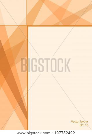 Cover layout technology design. Abstract geometric light orange background with text place. Modern template for books, brochures, leaflets, booklets, portfolio, annual reports, posters, flyers. EPS10 vector illustration, size A4