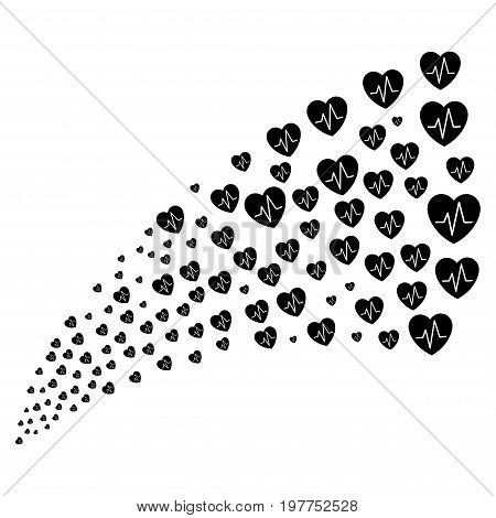 Source stream of cardiology icons. Vector illustration style is flat black iconic cardiology symbols on a white background. Object fountain combined from icons.