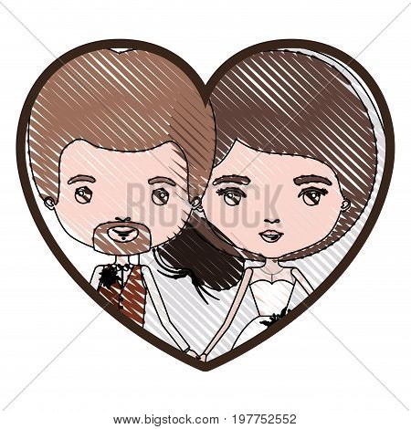 heart shape portrait with color crayon silhouette caricature newly married couple in wedding suits vector illustration