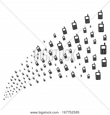 Fountain of cell phone symbols. Vector illustration style is flat black iconic cell phone symbols on a white background. Object fountain constructed from pictograms.