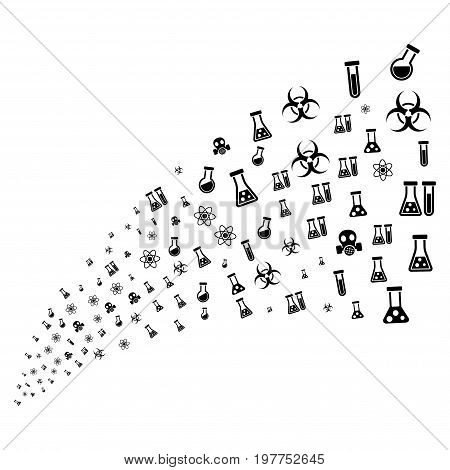 Source stream of chemistry symbols icons. Vector illustration style is flat black iconic chemistry symbols on a white background. Object fountain made from symbols.